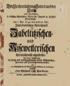 Der Verherrlichung Gottes aus der Natur erste Fortsetzung, in etlichen öffentlichen Reden der Jugend ...