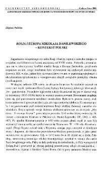 Rosja i Europa Mikołaja Danilewskiego - kontekst polski
