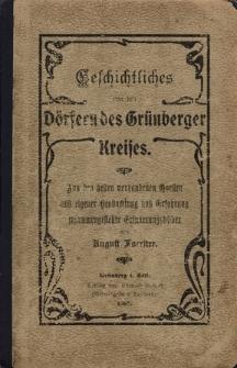 Geschichtliches von den Dörfern des Grünberger Kreises
