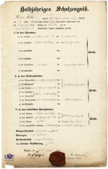 Halbjähriges Schulzeugnis: Robert Weichert (1842)
